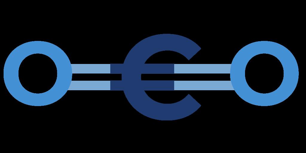 CO2-Molekül mit Euro-Zeichen